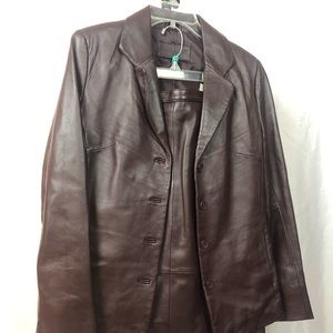 Jaclyn Smith Leather Skirt Suit